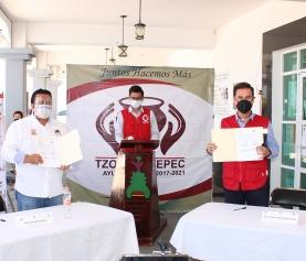 FIRMA DE CONVENIO CRUZ ROJA TLAXCALA Y MUNICIPIO DE TZOMPANTEPEC